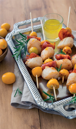 BROCHETTES DE SAINT JACQUES KUMQUAT ET CHORIZO